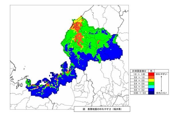 揺れやすさマップ 福井県