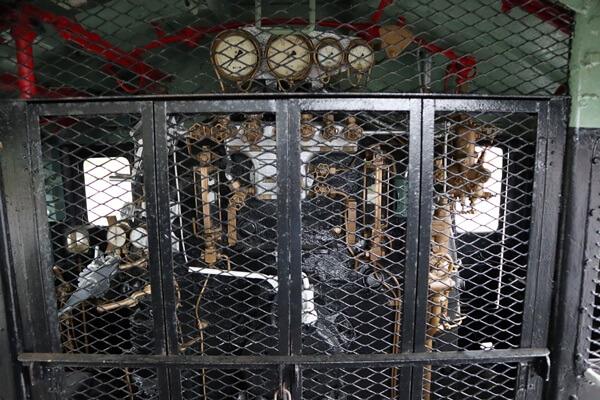 蒸気機関車の運転席